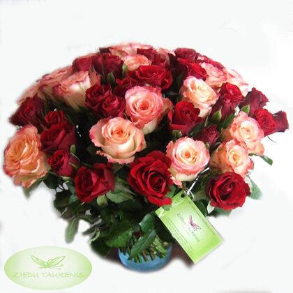 Rožu pušķis. Krāsas un skaitu iespējams variēt. Cenas aplūkot sadaļā SORTIMENTS.